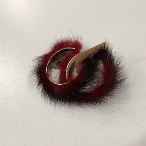 Jewelry - BNWT faux fur statement hoop earrings